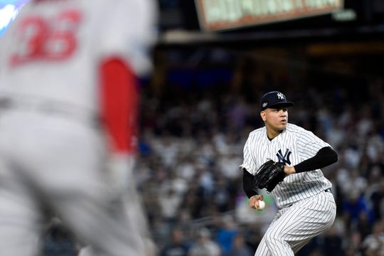 New York Yankees' Dellin Betances pitches with bases loaded in Game 4 of the American League Division Series on Tuesday, Oct. 9, 2018, in New York.