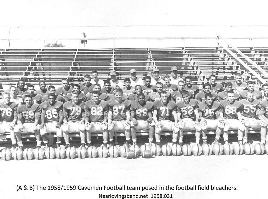 The 1958/1959 Cavemen Football team posed in the football field bleachers.