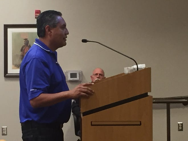 City of Carlsbad Environmental Services Superintendent Richard Aguilar spoke to the Carlsbad City Council Tuesday night regarding Marathon's plans to drill some wells near the Cavern City Air Terminal.