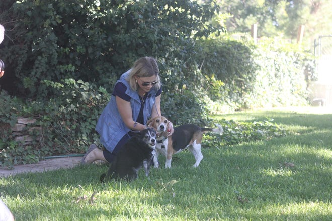 Missi Currier plays with her dogs outside her apartment, a converted workshop in her grandfather's backyard, Sept. 23, 2018 in Carlsbad.