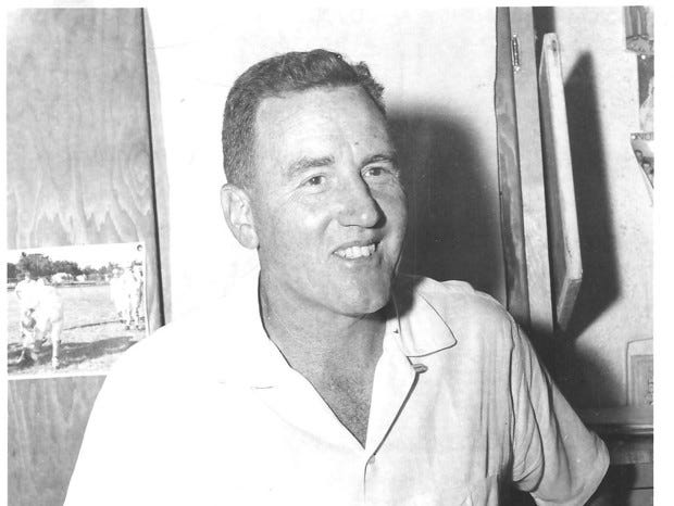 CHS Head Coach Ralph Bowyer in his office, relaxed, circa 1950.