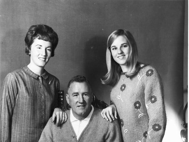Coach Ralph Bowyer (52) with his daughters Dot and Nancy, circa 1966.