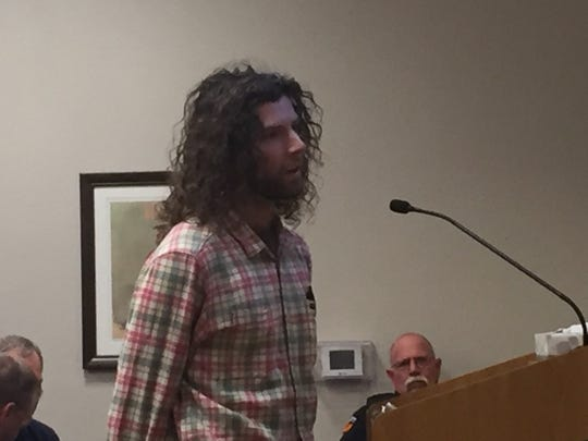 Matthew McGill of Wood Environment and Infrastructure Solutions goes over five permits submitted by Marathon Oil  to drill in the Carlsbad City Limits. He spoke to the Carlsbad City Council on Oct. 9.
