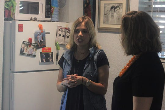Missi Currier discusses her trouble in finding affordable housing, Sept. 23, 2018 at her apartment in Carlsbad.