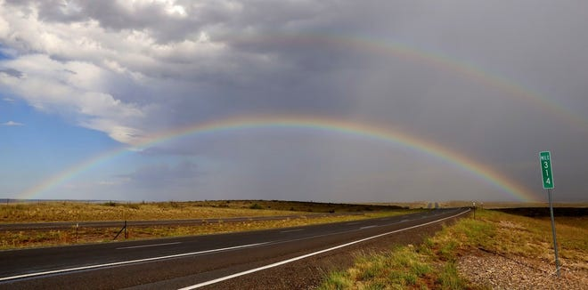 Storms over Lincoln County Monday and Tuesday left a colorful rainbow behind to brighten the day.