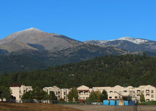 Sierra Blanca Peak and the Ski Apache area were tipped in white Wednesday morning.