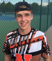 Northville senior Ryan Gallagher is all smiles after winning the No. 1 singles title at the KLAA boys tennis tournament.