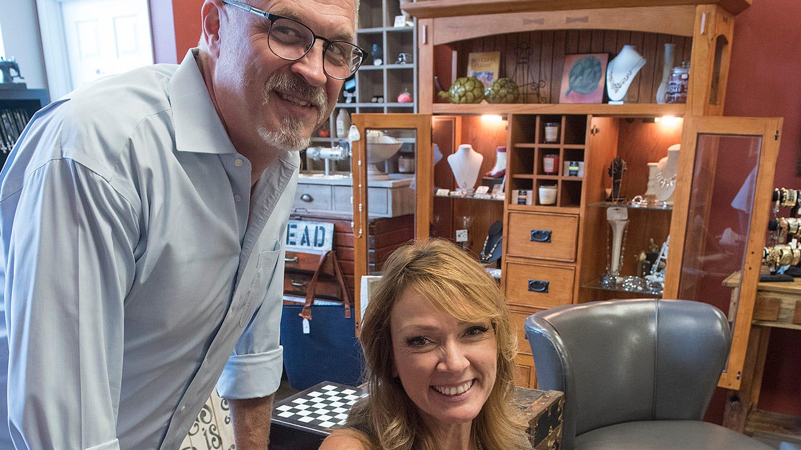 Kelly and Jack Reutter, owners of CO Reutter Salon sell more than hair care products in the rear part of their business. Works by local artists and artisans fill the back of the store, and they've partnered with North 72 Boutique to fill space in the front of the shop.