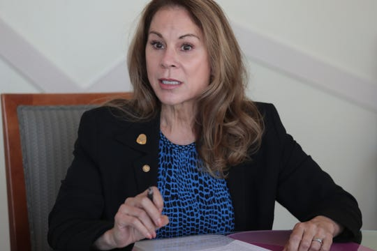Jan Harnik speaks at the Desert Sun Editorial Board Palm Desert City Council candidate interview session, September 18, 2018.