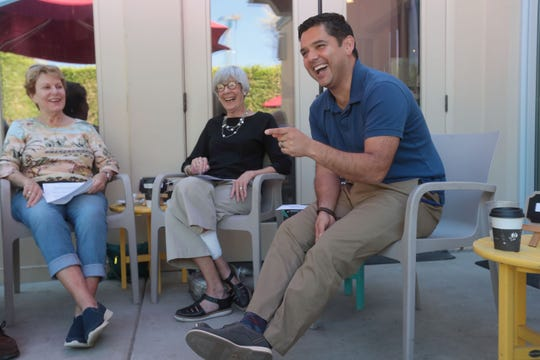 U.S. Congressman Raul Ruiz, M.D., democrat representing  California 36th District, speaks to a small group at a campaign event at Koffi cafe in Rancho Mirage on Wednesday, October 10, 2018.