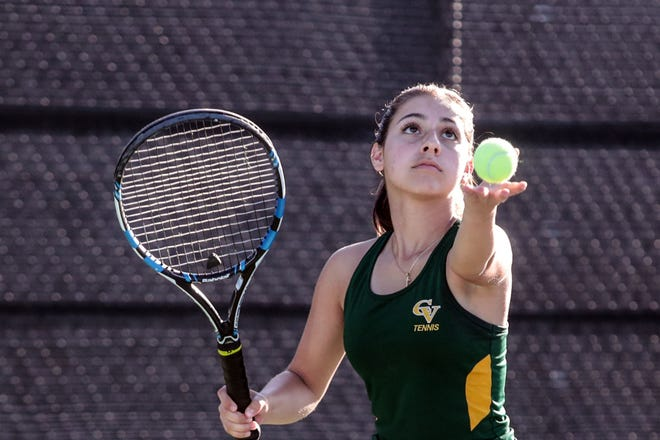 Coachella Valley number 1 singles player Alexis Gonzalez serves to Desert Mirage on Tuesday, October 9, 2018 at PGA West in La Quinta.