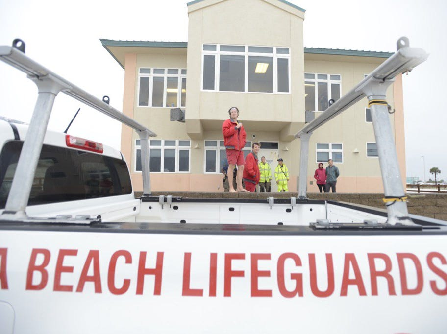 Lifeguards stand at the ready at Casino Beach on Pensacola Beach as Hurricane Michael arrives on Wednesday, Oct. 10, 2018.