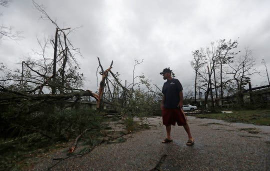 James Prescott surveys the damage as the remnants of Hurricane Michael move through Panama City on Wednesday, Oct. 10, 2018. He was visiting a friend and was not able to leave the street due to downed trees.