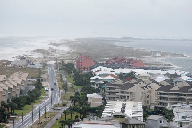 Road to Fort Pickens is flooded as Hurricane Michael arrives in Pensacola on Wednesday, October 10, 2018.