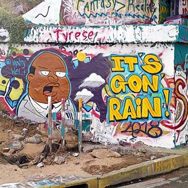 'It's gon rain!' Artist paints family guy character on Graffiti Bridge
