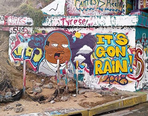 Artist Monty Welt updated Graffiti Bridge with Family Guy character Ollie Williams on Tuesday, October 9, 2018 as Pensacola residents prepared for Hurricane Michael's approach.