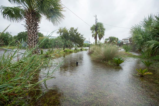 Flooded street in Pensacola Beach as Hurricane Michael arrives in the area on Wednesday, October 10, 2018.