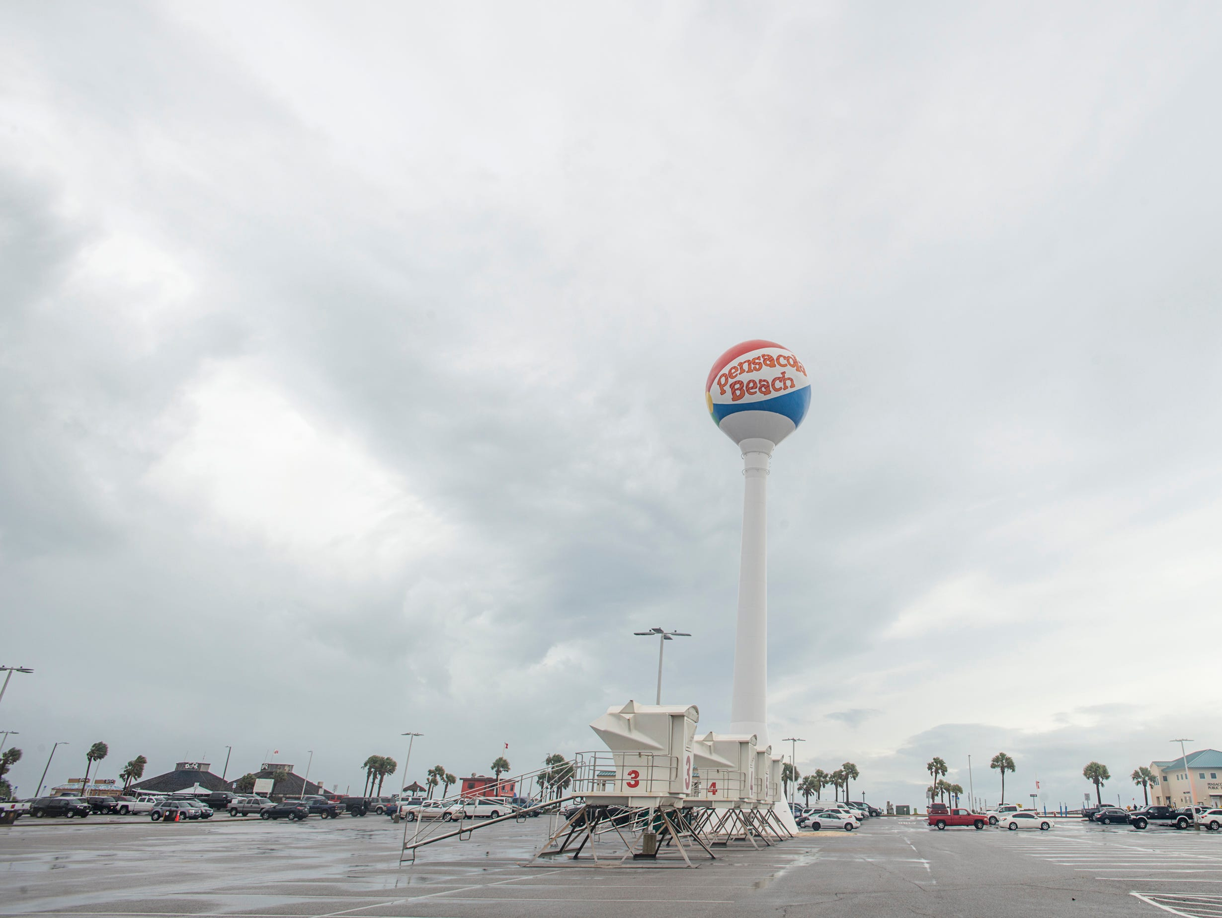 The sky brightens as the clouds break up near Casino Beach in Pensacola as Hurricane Michael passes through on Wednesday, October 10, 2018.