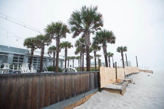 Casino Beach Bar & Grill patio area boarded up as Hurricane Michael arrives in Pensacola on Wednesday, October 10, 2018.