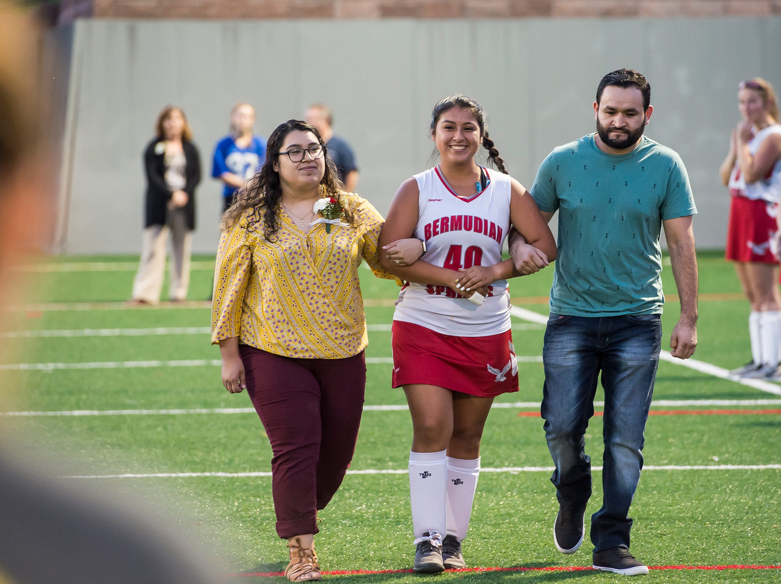 Bermudian Springs senior Cindy Rivera is recognized during a senior appreciation night following a game against Littlestown on Tuesday, October 9, 2018.