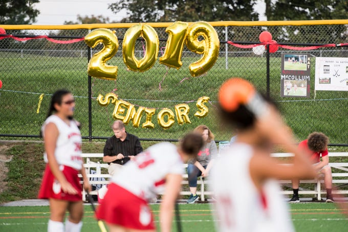 Bermudian Springs field hockey celebrated their senior appreciation night in a game against Littlestown on Tuesday, October 9, 2018. The Eagles won 4-0 and improved to 15-0-1 on the season. The Bolts fell to 12-4-1.