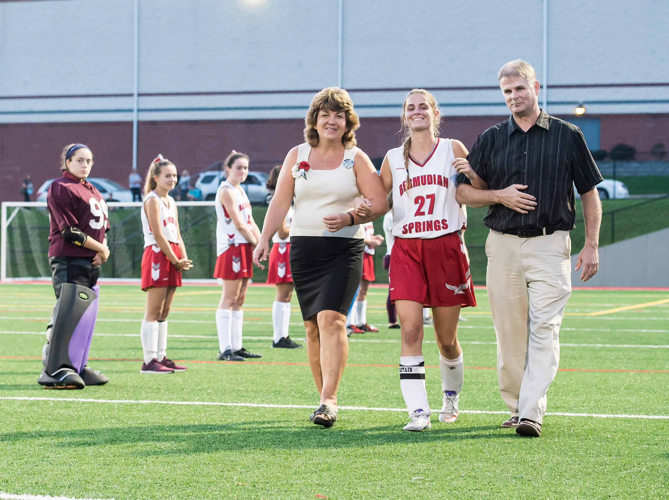 Bermudian Springs senior Kaitlyn McCollum is recognized during a senior appreciation night following a game against Littlestown on Tuesday, October 9, 2018.