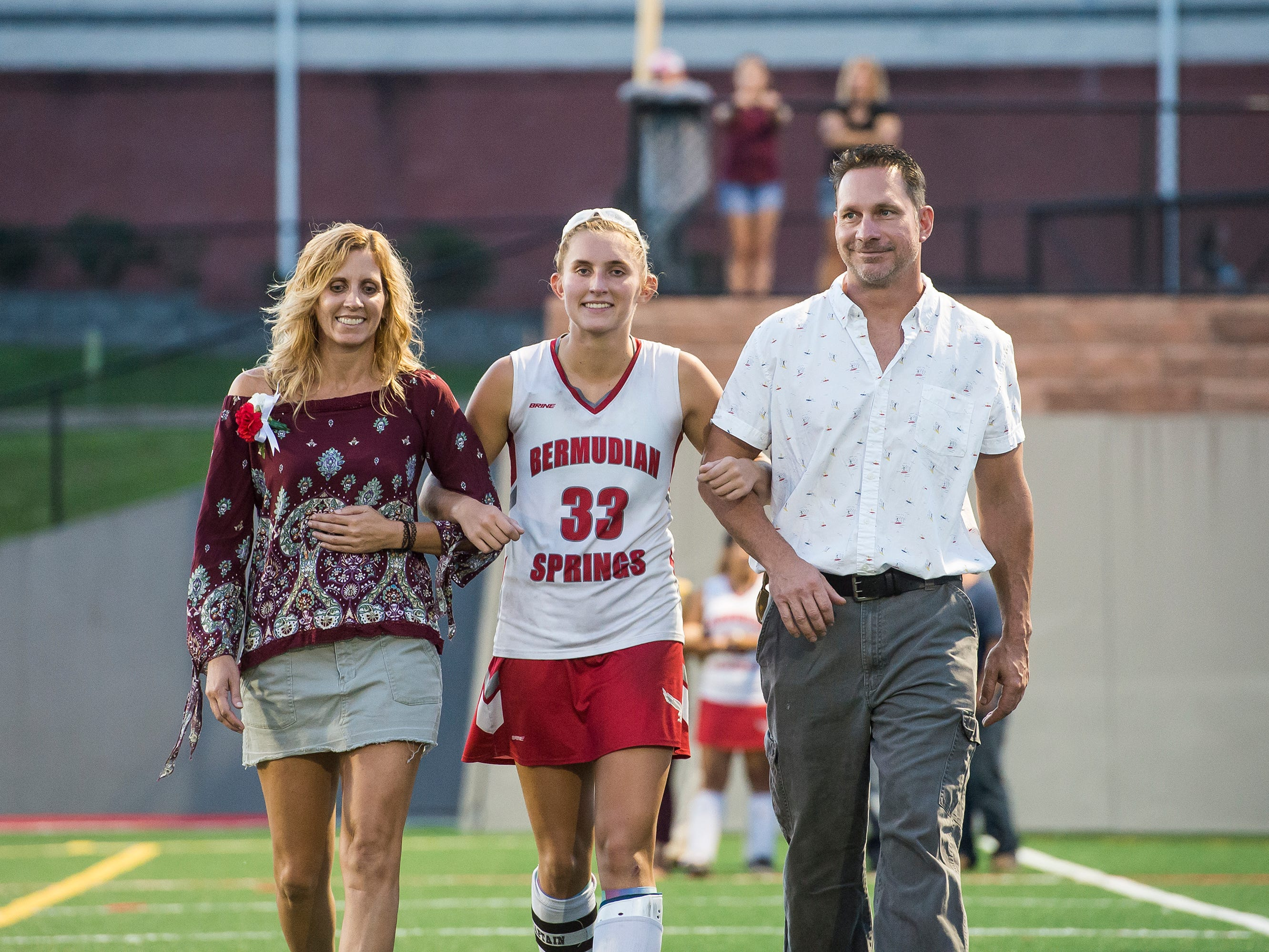 Bermudian Springs senior Kayla Pyles is recognized during a senior appreciation night following a game against Littlestown on Tuesday, October 9, 2018.