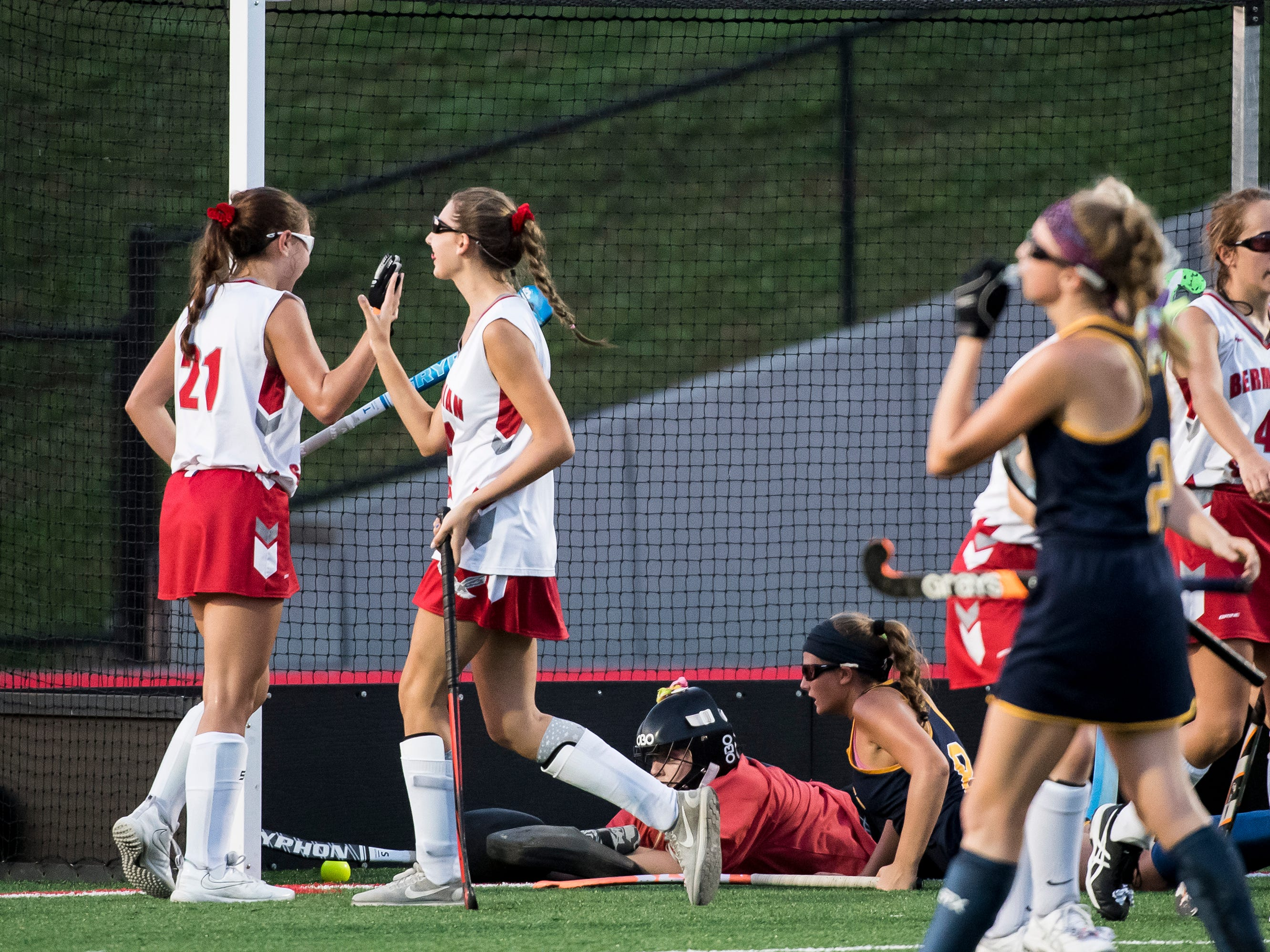 Bermudian Springs' Keri Speelman, left, and Hannah Wheeler celebrate after scoring a last second goal against Littlestown on Tuesday, October 9, 2018. The Eagles won 4-0.