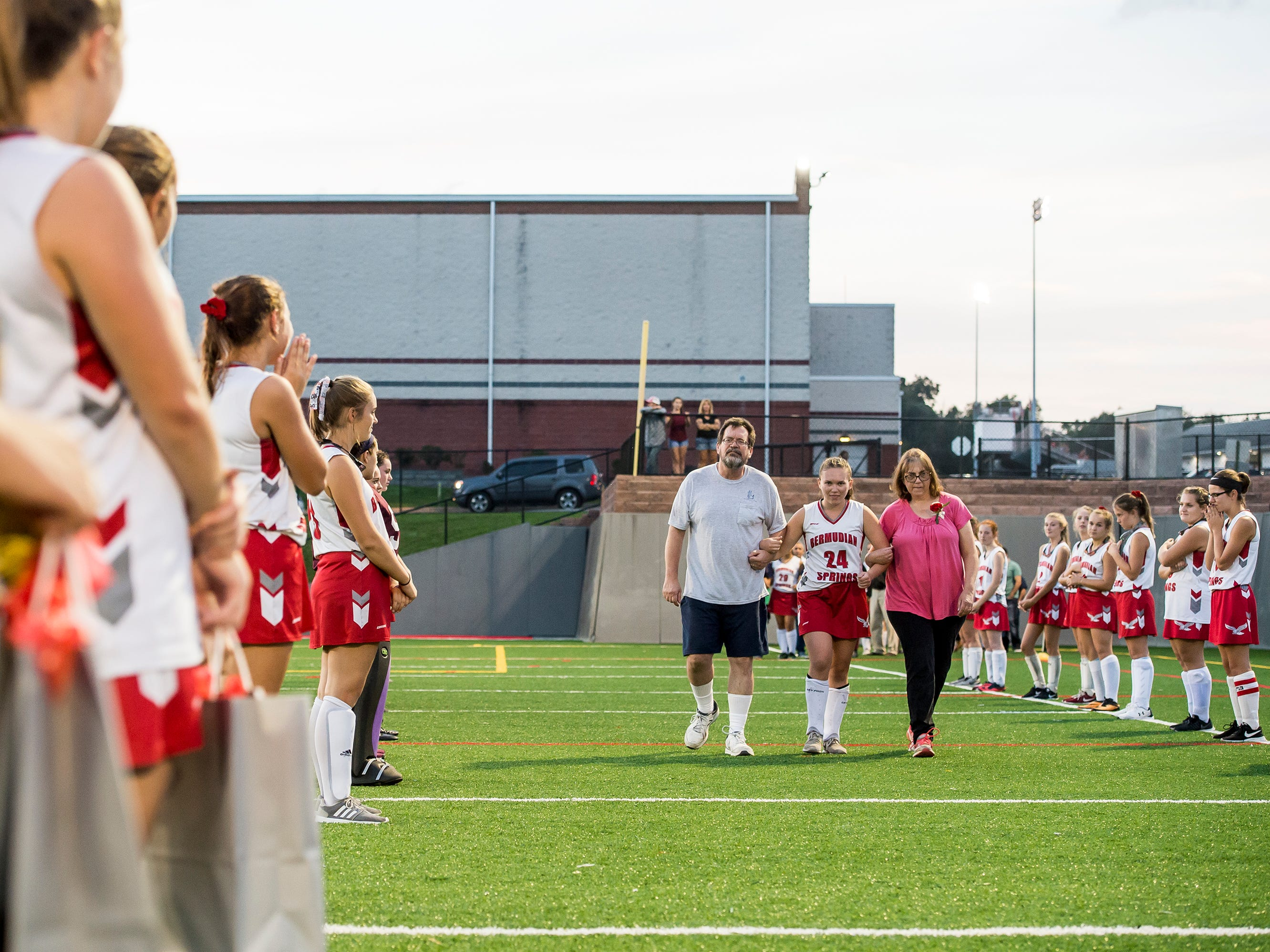 Bermudian Springs senior Bekah Eaton is recognized during a senior appreciation night following a game against Littlestown on Tuesday, October 9, 2018.