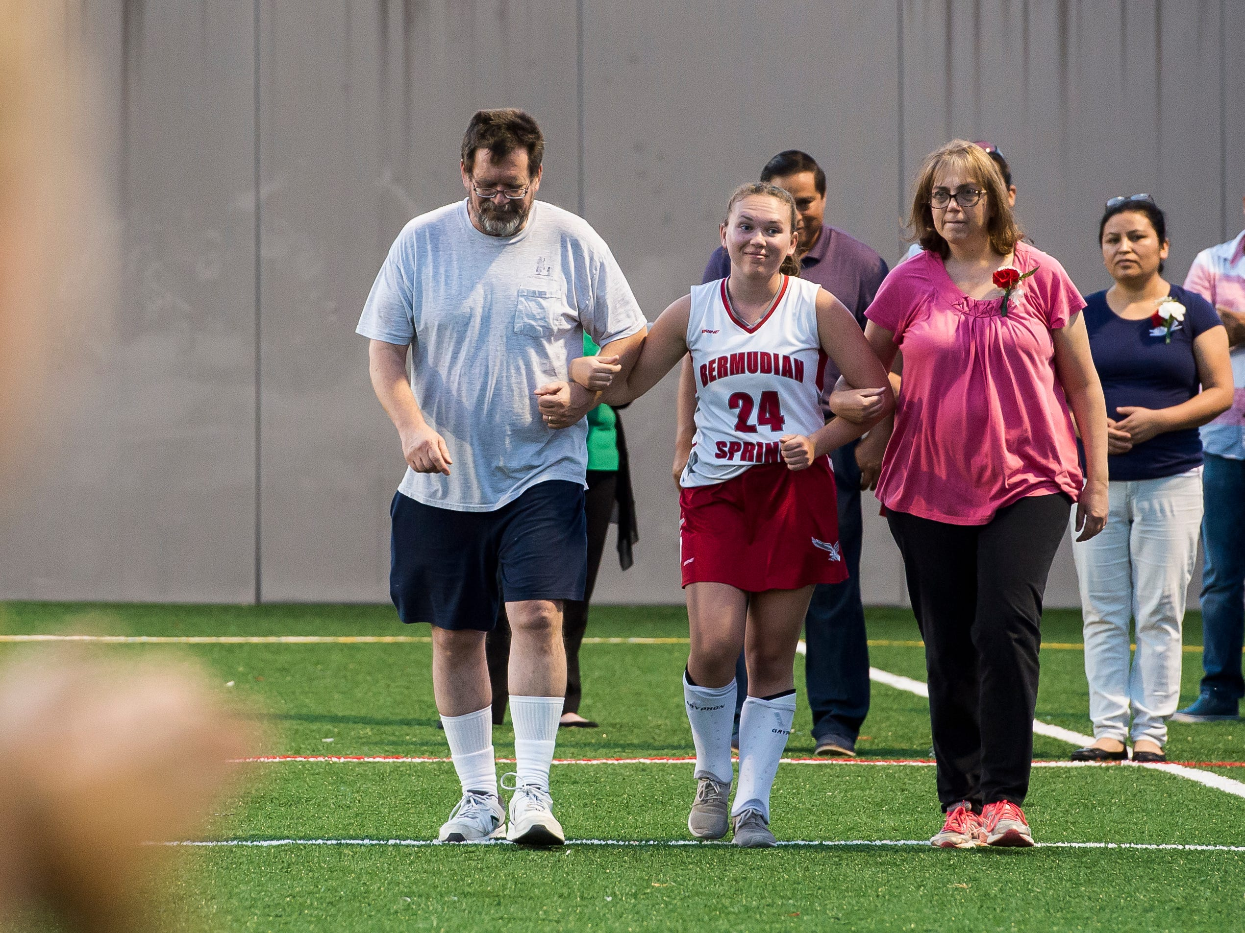 Bermudian Springs senior Bekah Eaton is recognized during a senior night ceremony on Tuesday, October 9, 2018. The Eagles won 4-0.