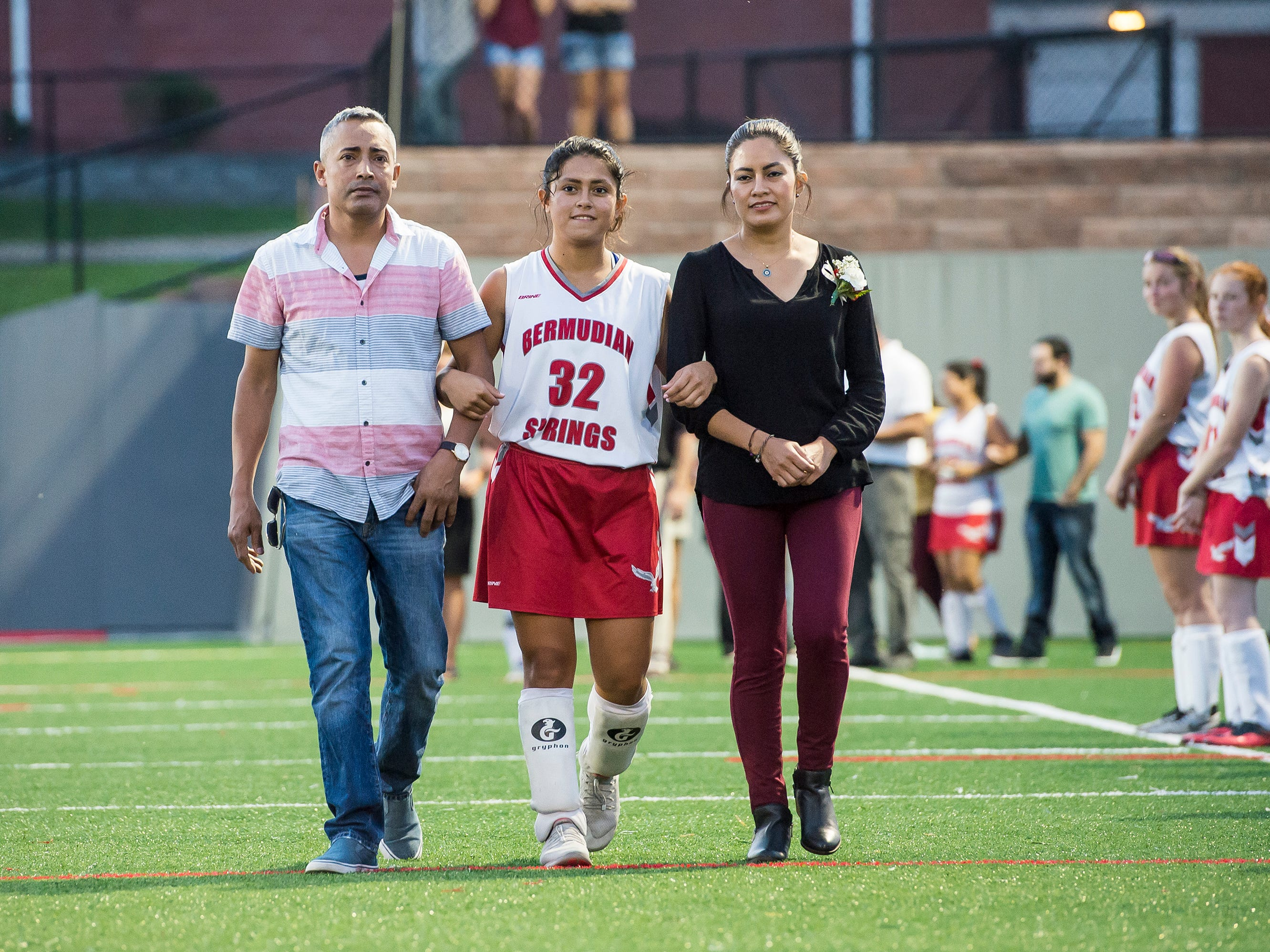 Bermudian Springs senior Cecilia Lua is recognized during a senior appreciation night following a game against Littlestown on Tuesday, October 9, 2018.
