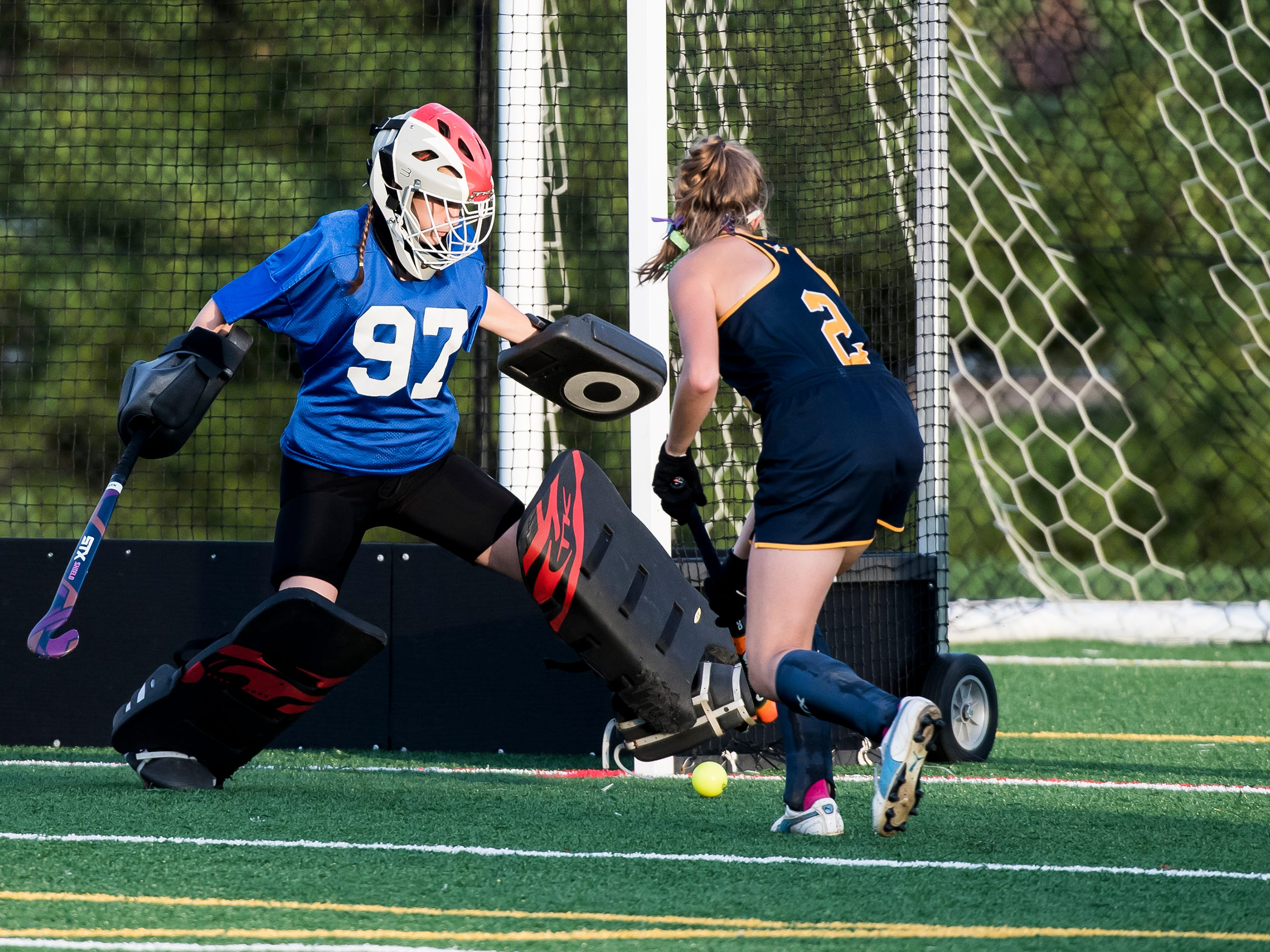 Bermudian Springs goalie Melaina Shoop blocks a shot from Littlestown's Cailey Sentz on Tuesday, October 9, 2018. The Eagles won 4-0.