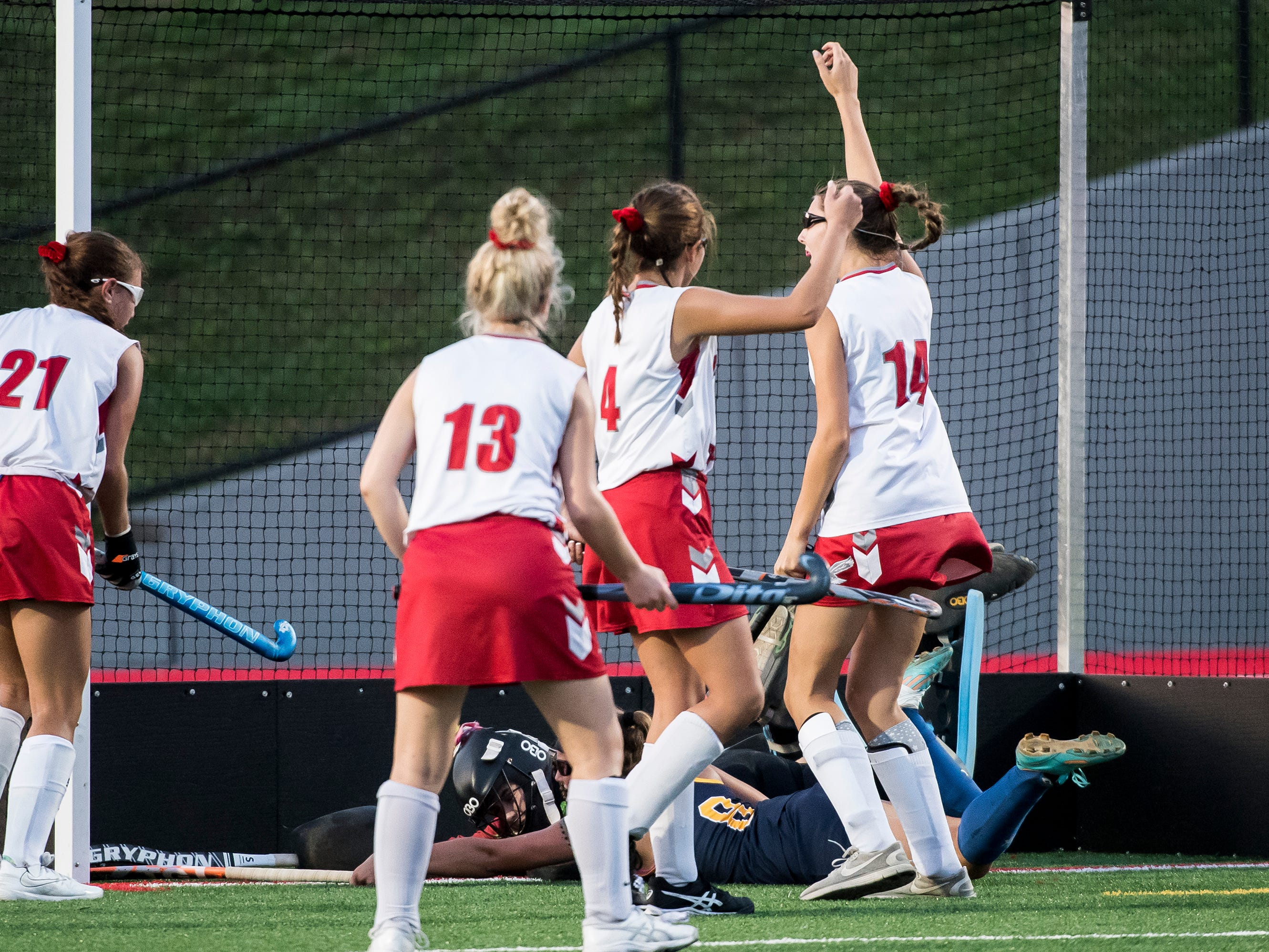 Bermudian Springs players celebrate after scoring a last second goal against Littlestown on Tuesday, October 9, 2018. The Eagles won 4-0.