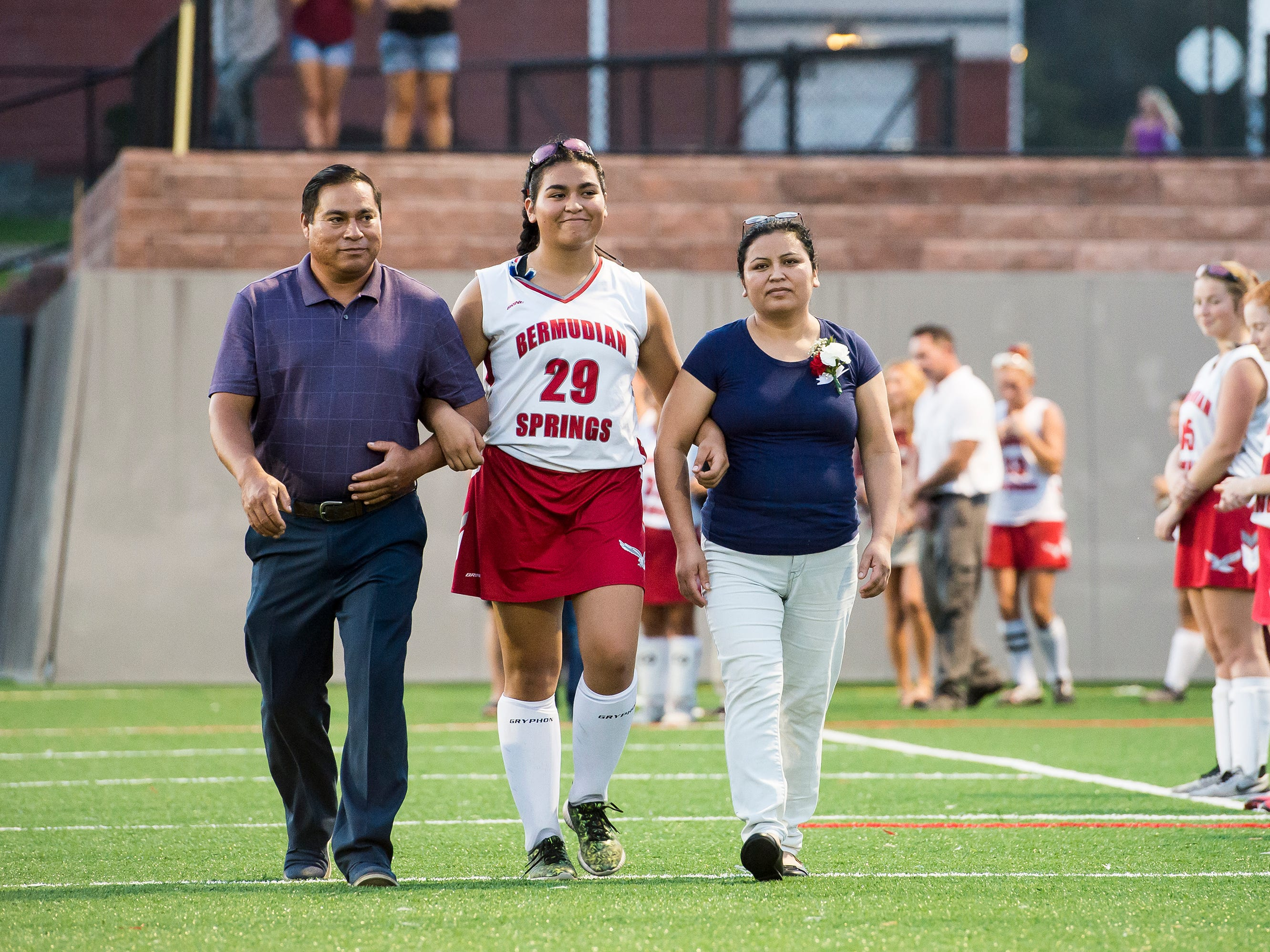 Bermudian Springs senior Jenn Garcia is recognized during a senior appreciation night following a game against Littlestown on Tuesday, October 9, 2018.