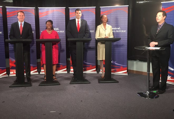 Candidates during the Arizona Corporation Commission debate.