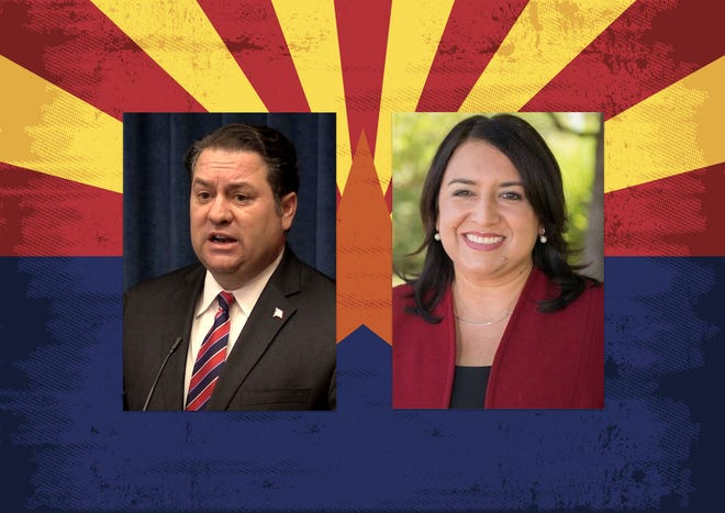 Arizona Attorney General Mark Brnovich (left) and Democratic challenger, former prosecutor and policy adviser January Contreras.