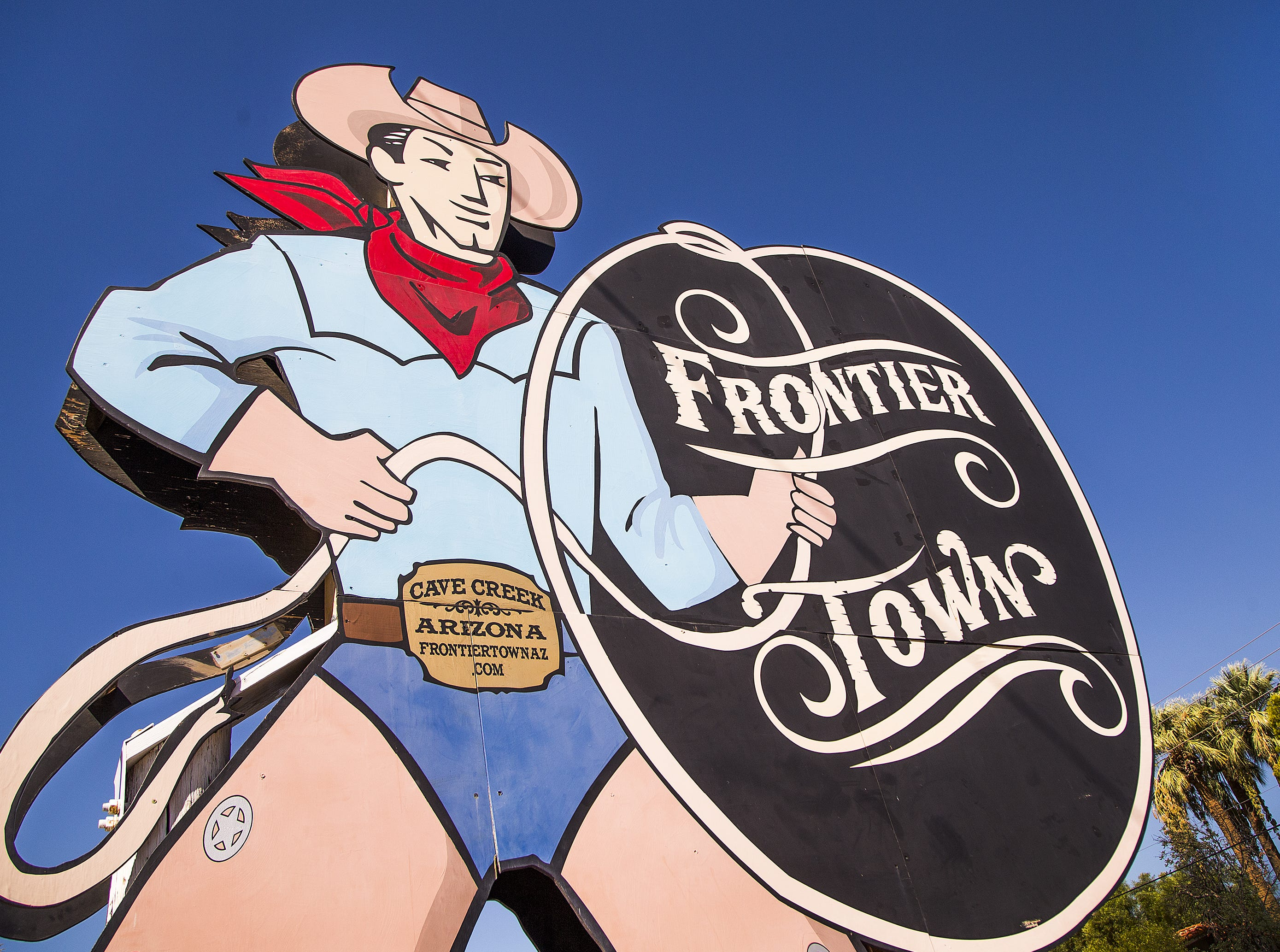 The sign at Frontier Town in Cave Creek, Tuesday, Oct. 9, 2018.