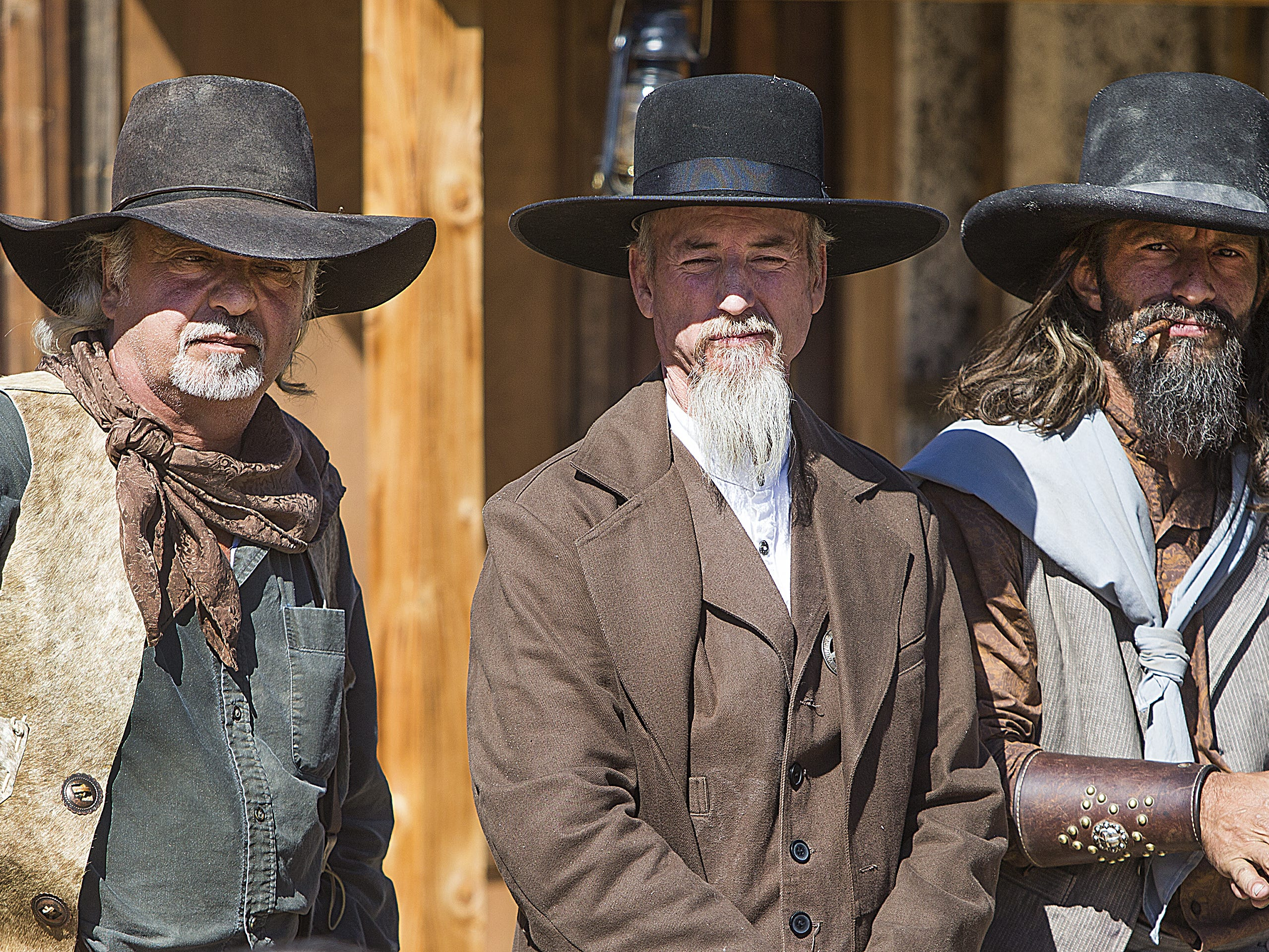 Members of Six Gun Entertainment prepare to perform their Wild West stunt show at Frontier Town in Cave Creek, Tuesday, Oct. 9, 2018.
