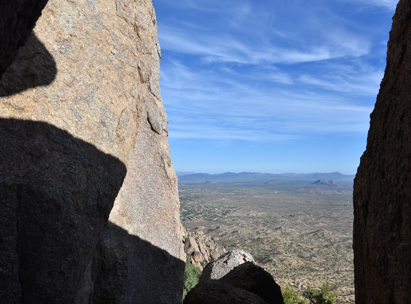 View from the base of Tom's Thumb.