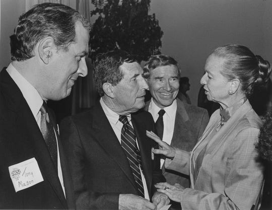 Candidates running for Arizona governor in 1986 talk to each other. From left: Tony Mason, Burton Barr, Evan Mecham and Carolyn Warner.