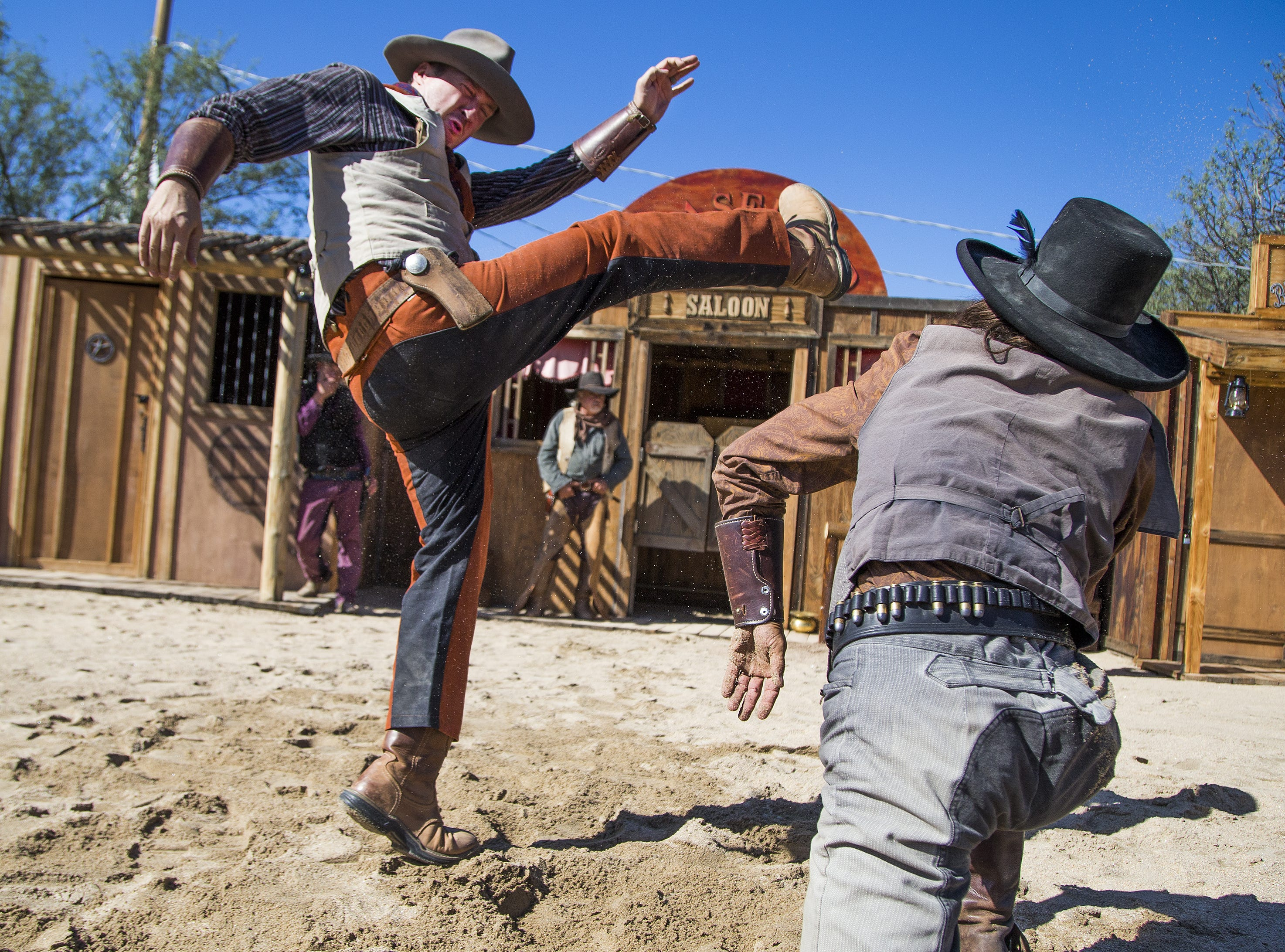 Actors with Six Gun Entertainment perform their Wild West stunt show at Frontier Town in Cave Creek, Tuesday, Oct. 9, 2018.