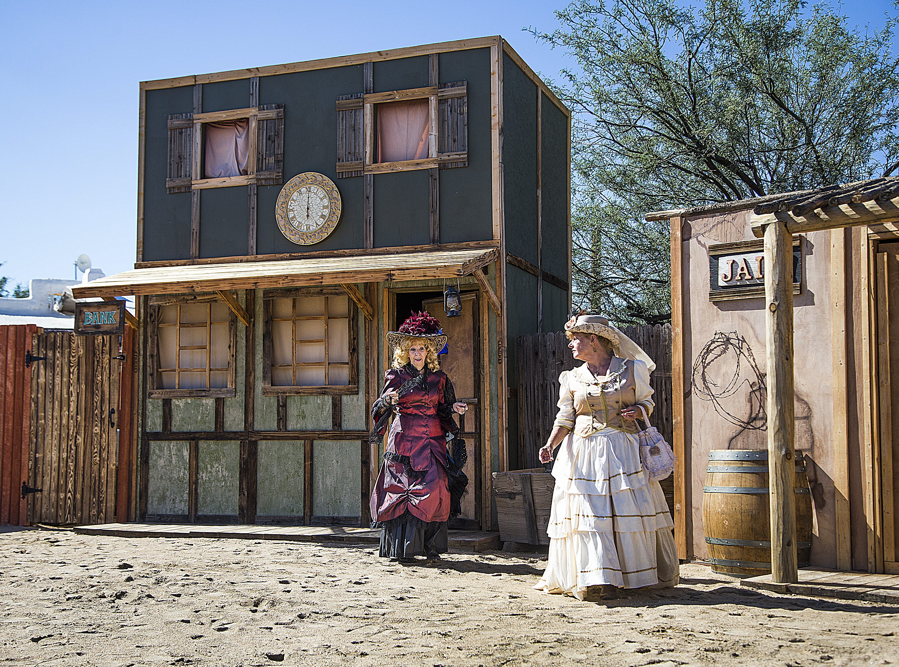 Actors with Six Gun Entertainment prepare to perform their Wild West stunt show at Frontier Town in Cave Creek, Tuesday, Oct. 9, 2018.