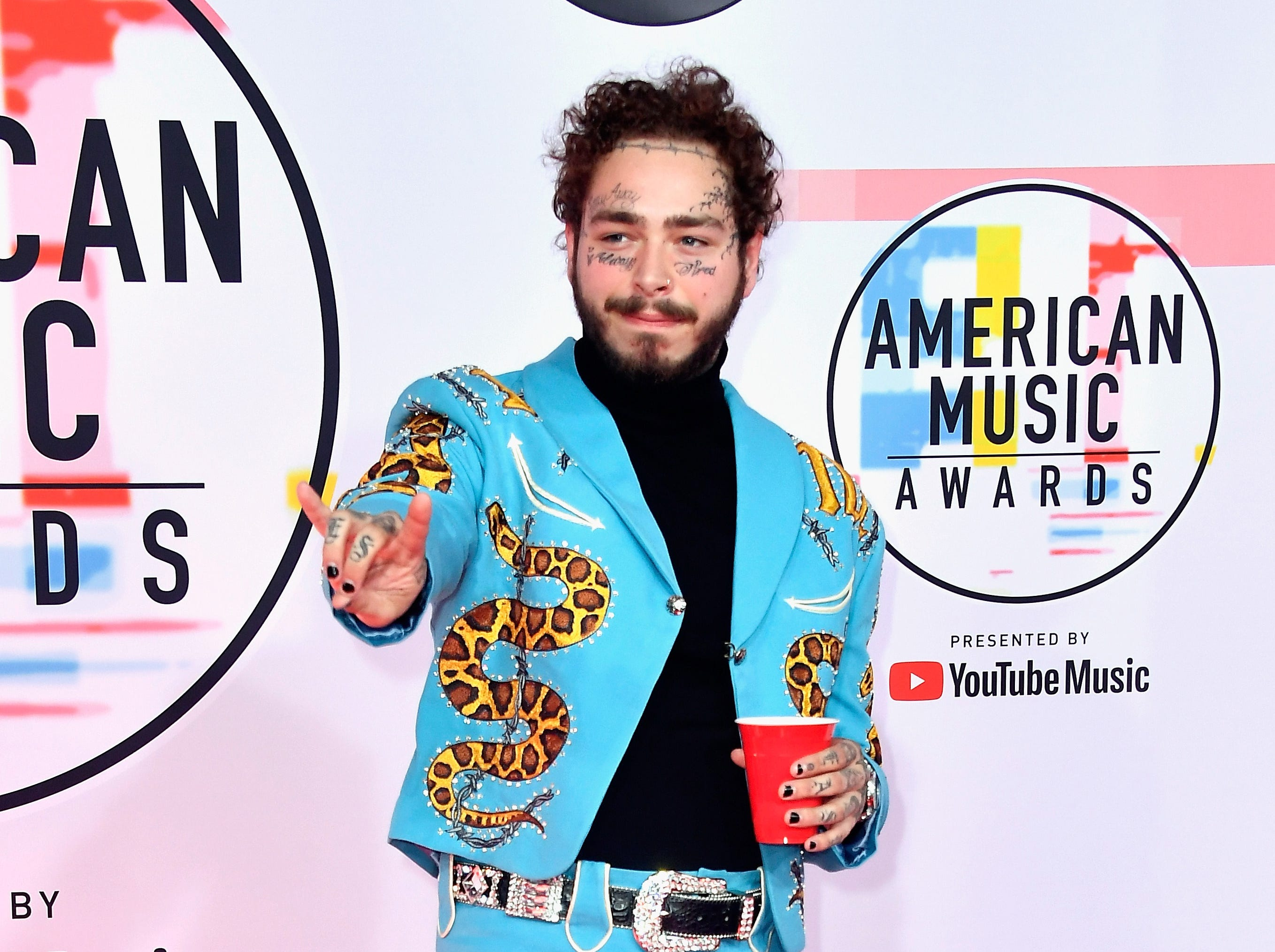 Post Malone attends the 2018 American Music Awards at Microsoft Theater on Oct. 9, 2018, in Los Angeles.