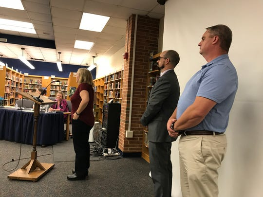 From left, Michelle Bucks, Barry Naum and Travis Byerly, candidates to fill a vacant seat on the Northern Lebanon School District board, wait to address the board at a meeting Oct. 9, 2018. Bucks was voted into the seat after a 5-3 vote between her and Naum.