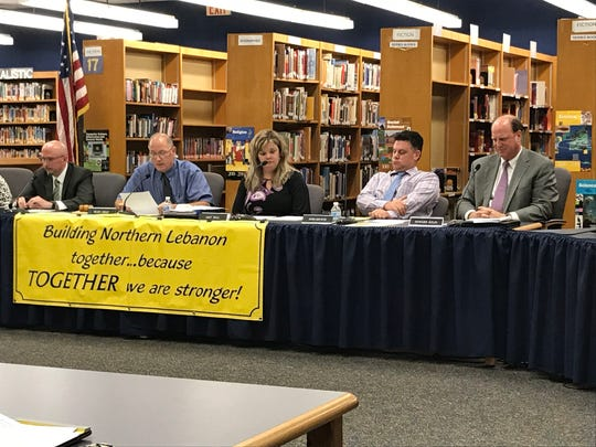 From left, Superintendent Erik Bentzel, Board President Glen Gray, Board Vice President Amy Sell, Board Member John Brewer and Solicitor Howard Kelin at an Oct. 9, 2018 Northern Lebanon School District board meeting.