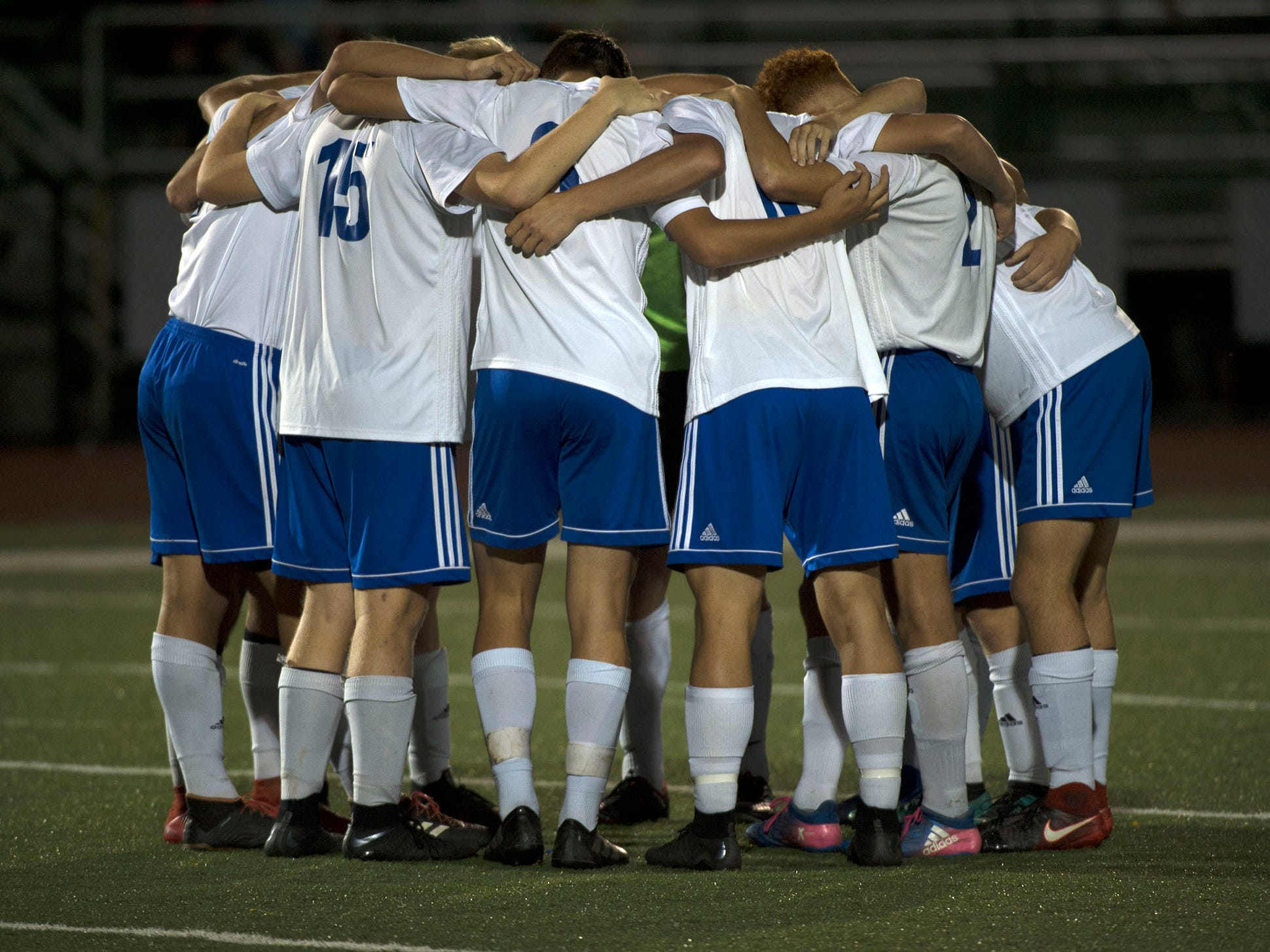 Waynesboro players huddle before taking on Greencastle. Waynesboro shocked Greencastle with a 4-0 shutout in PIAA Mid-Colonial soccer on Tuesday, Oct. 9, 2018.