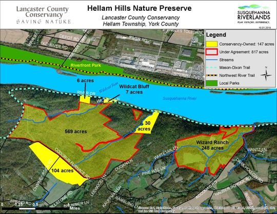 The map shows the tracts of land that will become the Hellam Hills Nature Preserve in northeastern York County.