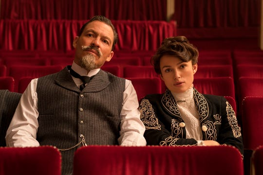"Dominic West, left, and Keira Knightley star in ""Colette."" The movie opens Oct. 12 at R/C Hanover Movies."