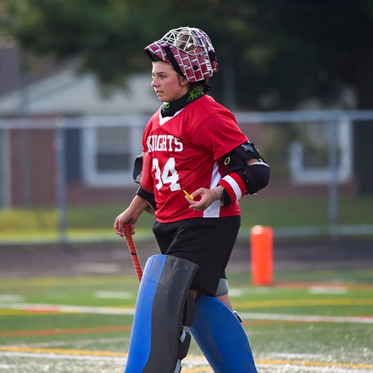 Eastern York goalie Kelsey Felix heads to huddle, October 9, 2018.