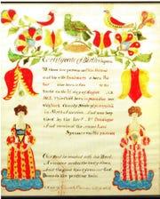 Levi Altland, born 1863, birth and baptismal certificate by Daniel Peterman.